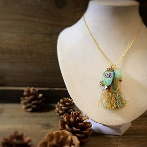 Jewelry - Weird Little Emerald Owl Charm Pendant Necklace